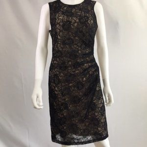 VINCE CAMUTO BLACK LACE DRESS WITH NUDE UNDERLAY